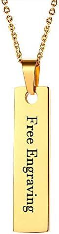 名前入りネックレス ステンレススチール 縦型バーネックレス 刻印入り カスタムネームネックレス クリスマスや誕生日プレゼントに ゴールド