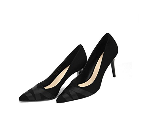 Stitching Shoes Size Dream Vintage Heels Pointed Sexy 38 Suede Ladies Heel High Feminine Black Ribbon Stiletto Toe Striped Color 7r6Inr