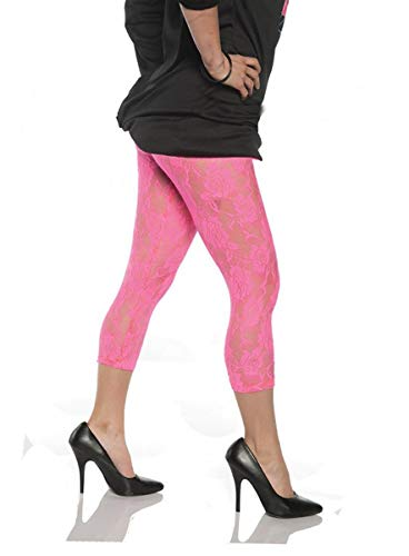 Women's Retro 80's Lace Leggings - Neon Pink, -