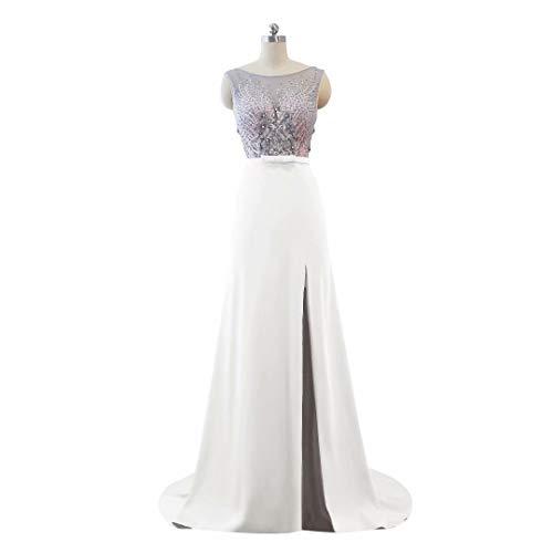 V Split der Formale Hohe Frauen Abendkleid Perlen Spitze Weiß Ballkleider Ausschnitt Lange wqxf6RYp