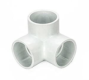 """Pack of (4) 3/4-Inch PVC 3-Way """"L"""" Pipe Fitting - Utility Grade - White"""