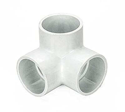 "Pack of (4) 3/4-Inch PVC 3-Way ""L"" Pipe Fitting - Utility Grade - White"