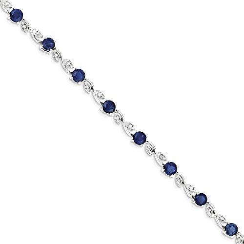 ICE CARATS 14k White Gold Diamond Sapphire Bracelet 6 Inch Gemstone Fine Jewelry Gift Set For Women Heart by ICE CARATS