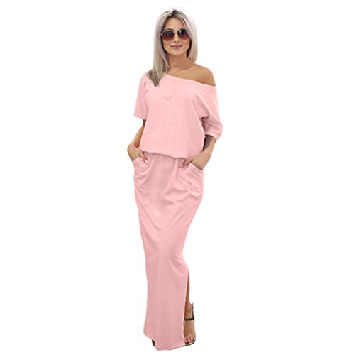 with Evening Women Dress Maxi Long Pocket ANBOO BOHO Summer M Pink Party dX0q7wn8n