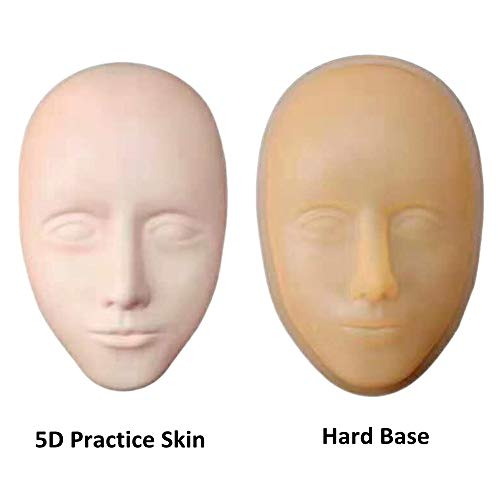 Dragon Grain 5D Elastic Silicone Face Skin Practice Model Eyebrow Microblading Permanent Tattoo Training Mannequin Head Eyelashes Extension Makeup Tools ()