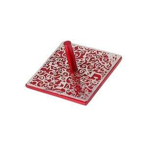 Yair Emanuel Hanukah Dreidel Decorative Flat Anodized Aluminum Cutout Design (Red)