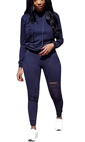 Sweatsuit Shirt Pants - LKOUS Womens 2 Pieces Outfits Long Sleeve Ripped Hooded Sweatshirt Shirt Tops and Bodycon Long Pants Tracksuit Set Plus Size