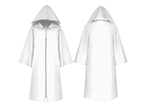 Hezon Happy Festival Christmas Costumes Long Hooded Cloak Children Death Cape for Halloween Masquerade (White) (Color : White, Size : Length 160cm)