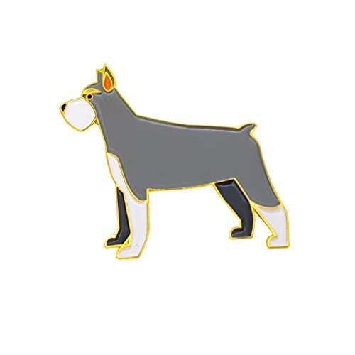 Cute Metal Brooch Pins Dog Lapel Pins Badge for Women Men Girls for Clothing Bag Decor (Schnauzer Pin)