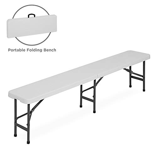 Best Choice Products 6ft Indoor Outdoor Folding Portable Plastic Bench for Picnics, Party w/ Handle and Lock - White