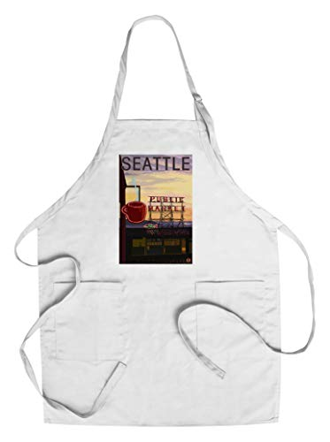 Seattle, Washington - Pike Place Market Sign and Water (Cotton/Polyester Chef's Apron) ()