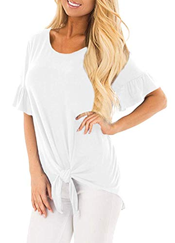 Fantastic Zone Women's Bell Sleeve Front Tie Knot Round Neck T Shirt Tops Blouse Tee Shirts ()