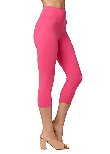 Super Soft High Waisted Leggings for Women - Capri Fuschia Pink - Large/X-Large (12-22) - Plus