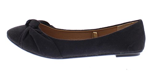 Gold Toe Womens Inez Faux Suede Knotted Slip on Ballet Flat Formal Dress Shoe With Comfort Arch Support Black QODbM2