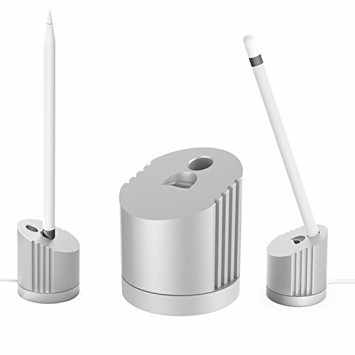 MoKo Stand Charger Compatible for Apple Pencil, Portable Charging Station Charger Cradle Dock Desktop Pen Holder for Apple Pencil iPad Pro Pencil/Pen (Built-in Charging Cable), Silver