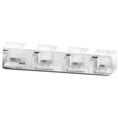 Dainolite Lighting V311-4W-PC Vanity Fixture Double Glass, 4-Light, Polished Chrome