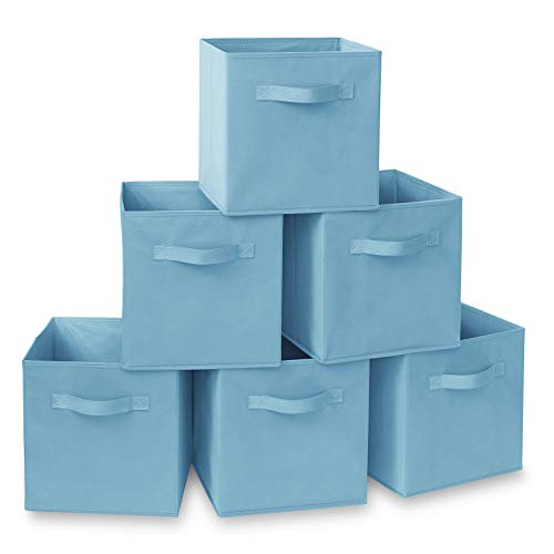 Casafield Set of 6 Collapsible Fabric Cube Storage Bins, Baby Blue - 11