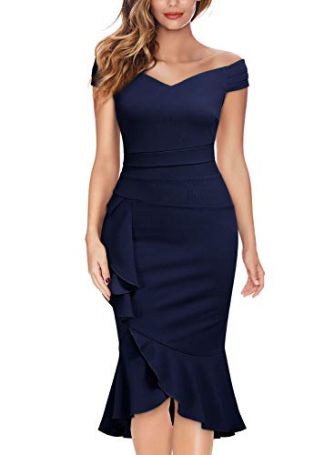 Knitee Off Shoulder V-Neck Ruffle Pleat Waist Bodycon Evening Cocktail Slit Dress,Small,Navy Blue
