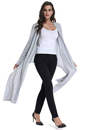 Cardigan Tunic Sweaters for Women,Female's Long Open Front Cardigans with Sleeves Relaxed Fit Draped Daily Wear Fashion Chic Asymmetrical Knit Spring Coat Cashmere Sweaters for Leggings Gray XXL