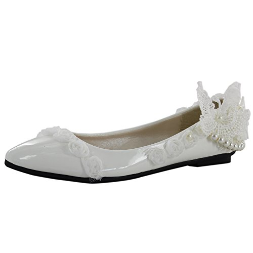 Msmushroom PU White Lace Dress High Party Heel Womens With Shoes rqxwgnHr6