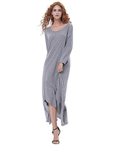 Kate Kasin Women Irregular Hem Long Sleeve Maxi Dress Tops Grey M