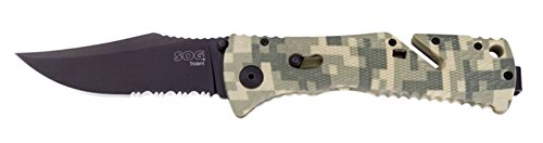 New SOG Trident Digi Camo Folding Knife + Includes a Free Zombie Hunter Survival Knife