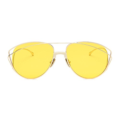 Para UV400 Protector De Conducir Libre Vintage Lentes Deporte Yellow Polarizadas Mujer Viajar Grande Vacaciones Retro Dulce Moda Aire Marco Moda Al Gafas OpxnSwx