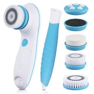 DBPOWER 6-in-1 Waterproof Electric Facial and Body Cleansing Brush with Detachable Handle, Blue