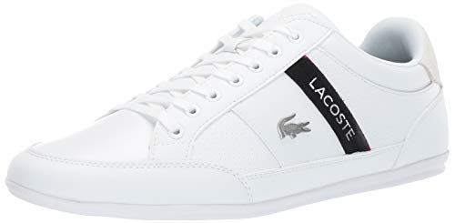 Lacoste Men's Chaymon Sneaker white/black 10 Medium US (Lacoste White Sneakers)