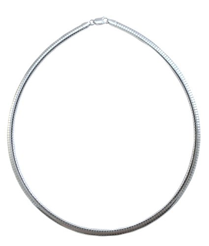 4mm Omega Necklace .925 Italian Sterling Silver Chain. 16,18,20 Inches (18 Inches) ()