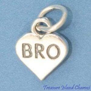 Harissa Bro Brother - Abalorio de Plata de Ley 925 con Forma de corazón pequeño Fabricado en Estados Unidos, para Manualidades, Pulseras, Collares, Joyas, Accesorios para Hacer Joyas