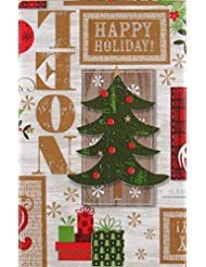 Festive Cheer Christmas Collection Vinyl Flannel Back Tablecloth (White Woodgrain, 60