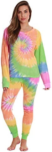 Just Love Women's Tie Dye Two Piece Thermal Pajama Set