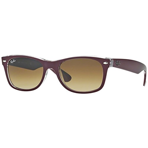 Ray-Ban RB2132 New Wayfarer Sunglasses, Matte Burgundy On Transparent/Brown Gradient, 55 mm