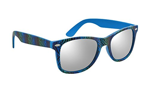 Things2die4 Plastic Mens Sunglasses Blue Mirrored Lens Sunglasses With Zebra Striped Frames Blue Model # - Sunglasses Zebra Striped