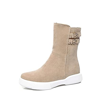 HSXZ Womens Shoes Fleece Winter Fall Snow Boots Fashion Boots Bootie Boots Flat Round Toe Booties//Ankle Boots Mid-Calf Boots for Casual