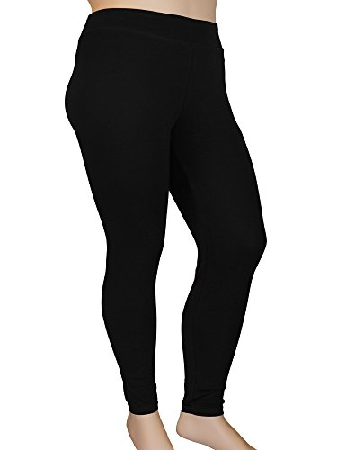 Stylzoo Women's Plus Size Comfy Stretch Ankle Length Leggings Yoga Stretch Pants Black ()