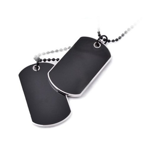 Army Tactical Style Black 2 Dog Tags Chain Beauty Mens Pendant Necklace for Men Jewelry
