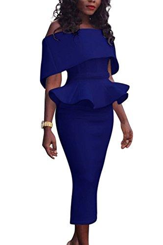 La Mujer Es Flouncing Vestido Fuera Del Hombro Lápiz Oficina Del Partido Blue