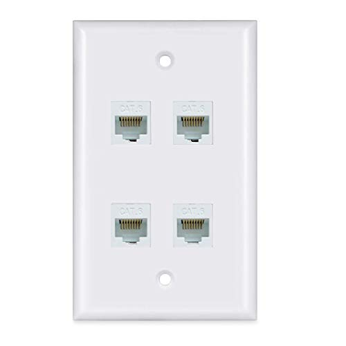 Ethernet Wall Plate 4 Port - Cat6 Ethernet Cable Wall Plate Female to Female - White