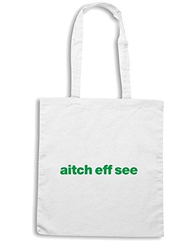 T-Shirtshock - Bolsa para la compra WC1042 hibernian-aitch-eff-see-tshirt design Blanco
