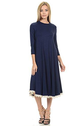 Detail Lace Trim (Pastel by Vivienne Women's Midi Swing Dress With Crochet Lace Trim Detail Small Navy)