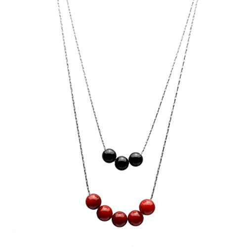 (2-Strand Black Onyx, Red Bamboo Coral Sterling Silver Chain Necklace 20