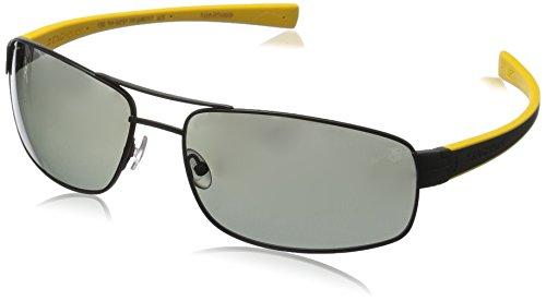 - Tag Heuer Lrs251111 Rectangular Sunglasses,Matte Black & Yellow,64 mm