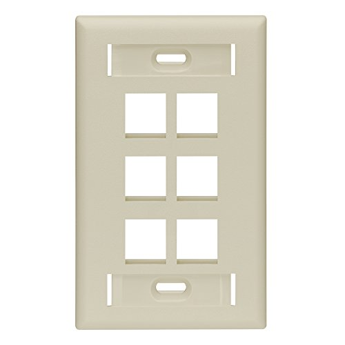 (Leviton 42080-6IS QuickPort Wallplate with Id Window, Single Gang, 6-Port, Ivory)