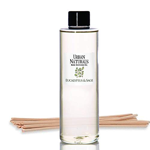 Urban Naturals Eucalyptus & Sage Oil Reed Diffuser Refill | Includes a Free Set of Reed Sticks! 4 ()