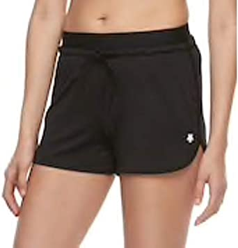 Womens Athletic Exposed Elastic w//Drawstring Running Yoga Workout Gym Shorts in Charcoal or Black S//M//L