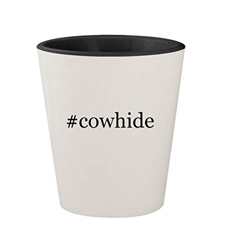 - #cowhide - Ceramic Hashtag White Outer & Black Inner 1.5oz Shot Glass