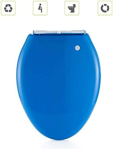 簡単なインストール&クリーニング用便座細長いは、クイックリリース&ノンスリップシートバンパーと閉じるヘビーデューティスロー静かなクローズ (Color : Blue)