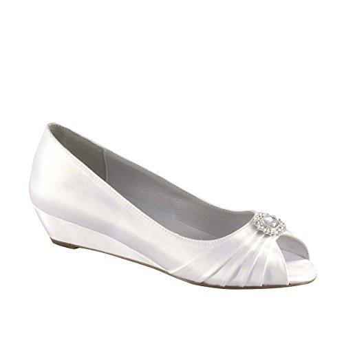 XINJING-S Einfärbbar weiß Ferse formale Bridal Wedding Frauen Slipper Schuhe Med & Breite ,11